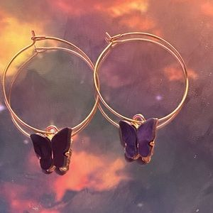 Black butterfly hoop earrings